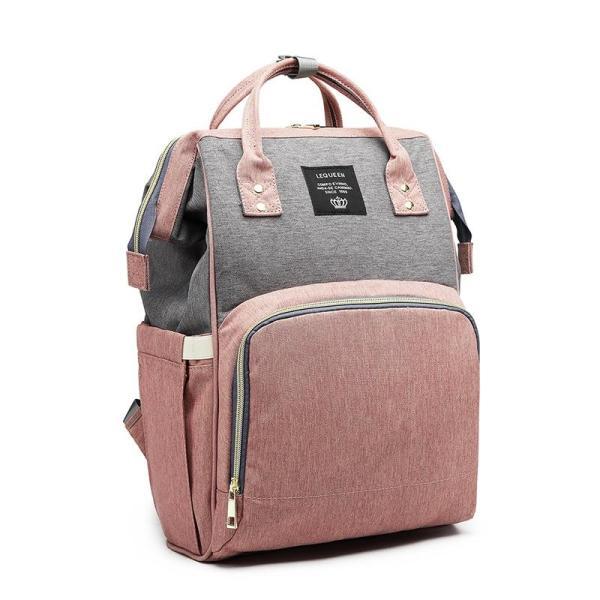 Pink and Grey Diaper Bag Backpack