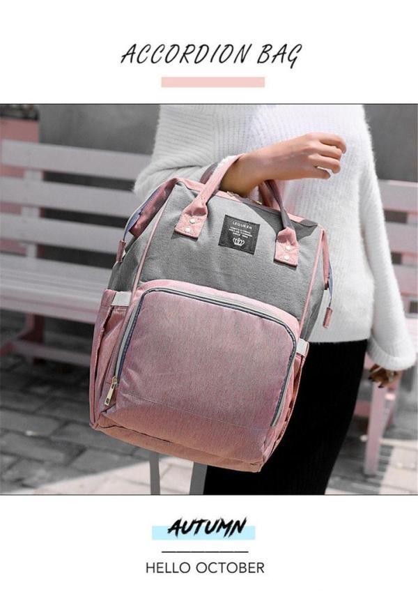 Pink and Grey Diaper Backpack Bag Handle