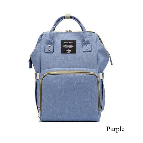 Lequeen Diaper Bag Backpack Purple