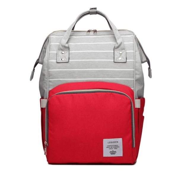 Lequeen Diaper Bag Backpack Gray Red
