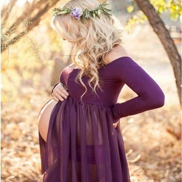 Esther Maternity Chiffon Dress