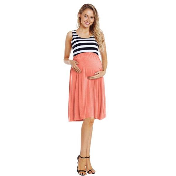 striped maternity gown