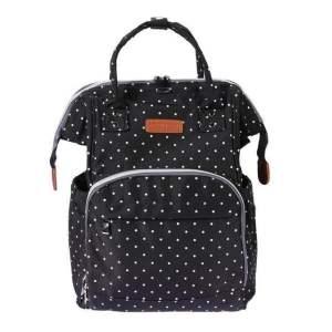 Polka Dot Waterproof Diaper Bag Backpack Black