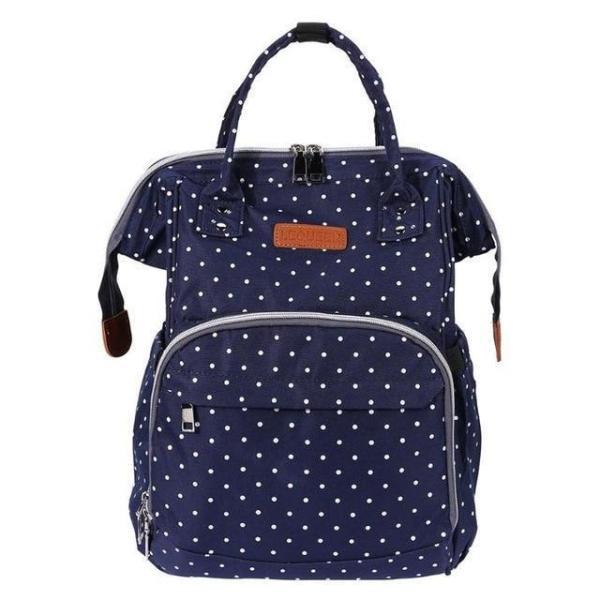 Polka Dot Waterproof Diaper Bag Backpack Blue
