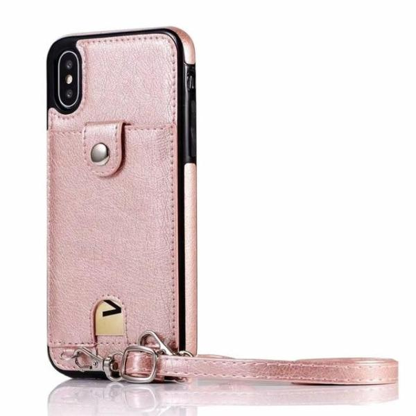 Iconic iPhone Purse Case with Shoulder Strap Rose Gold