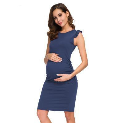 Side Ruched Maternity Dress Navy