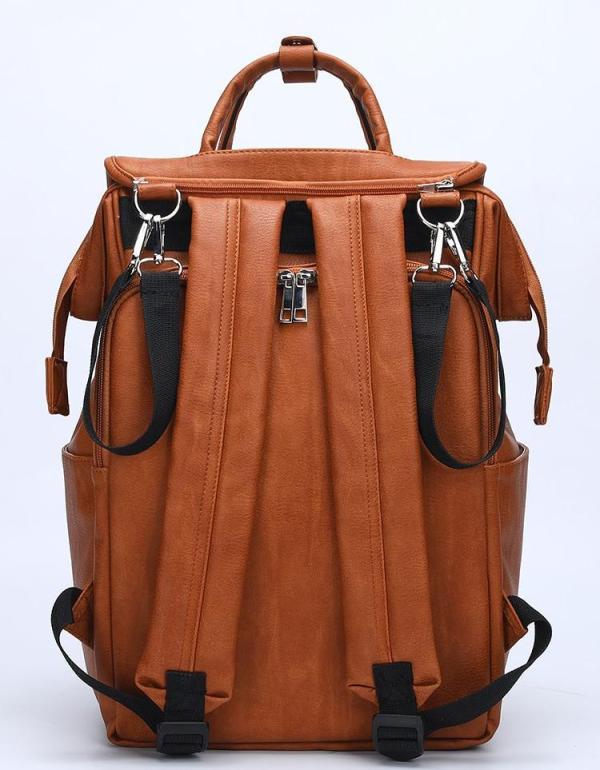 Leather Diaper Backpack Bag Back