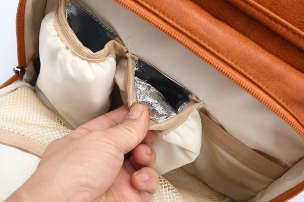 Bottle Pocket Leather Diaper Bag