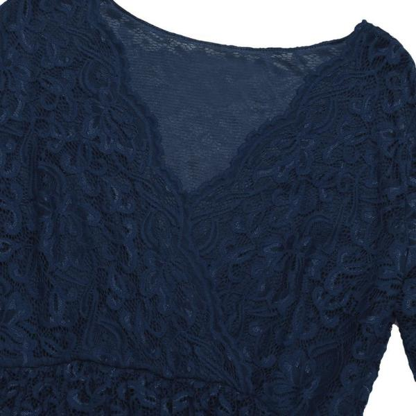Floral Cocktail Party Maternity Dress Navy Blue Fabric Front