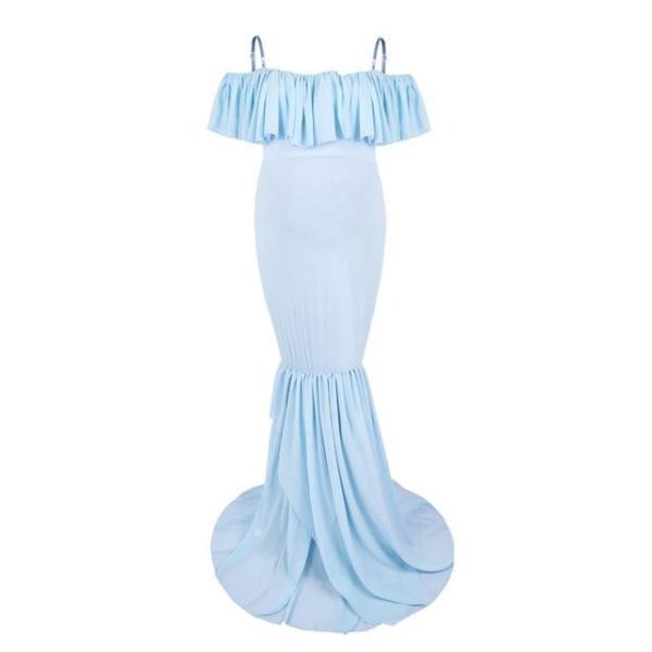 Maternity dress for baby shower light blue