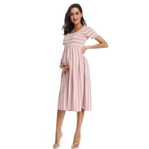 Striped Maternity Dress Peach