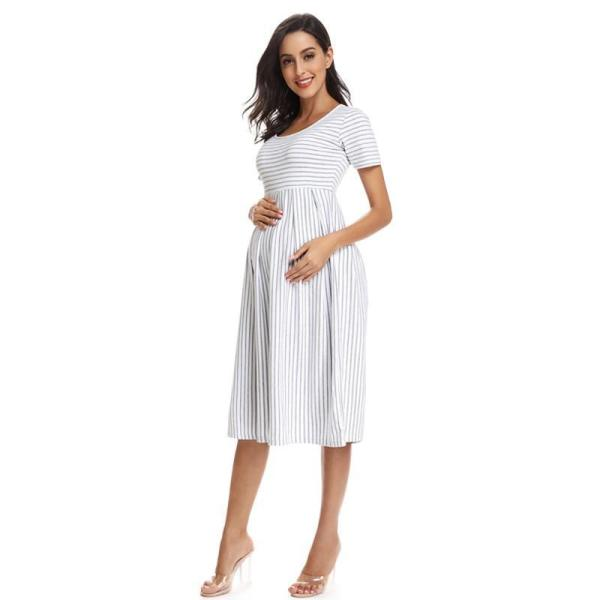 Striped Maternity Dress White