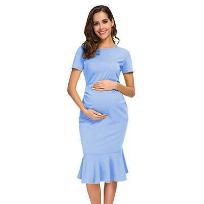 Bodycon Maternity Dress Sky Blue