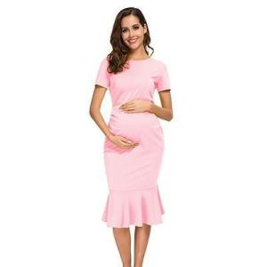 Bodycon Maternity Dress Baby Pink