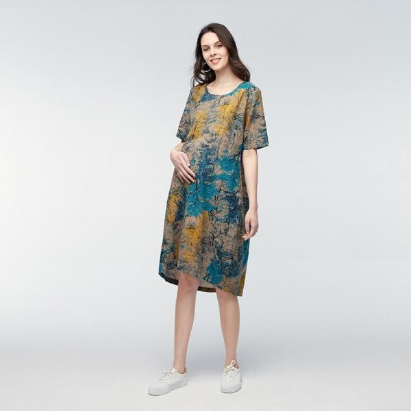 Vintage Maternity Dress Blue Model