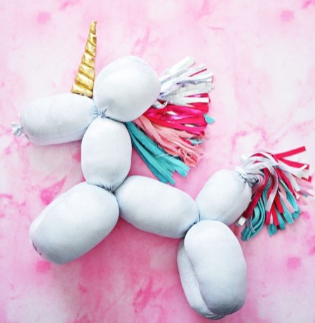 Unicorn balloon animal pillow by LittleInspiration.com