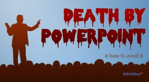 "Powerpoint Slide that says ""Death by Powerpoint"" in blood with a zombie"