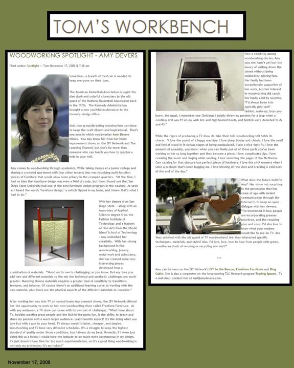 Woodworking Spotlight Amy Devers Tom S Workbench Amy Devers