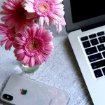 Pink Flowers and Lap Top