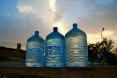 A local's collection of fresh water for home