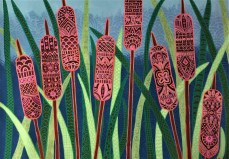 """""""Cattails"""", 18 x 24, acrylic on canvas, 2012, SOLD"""