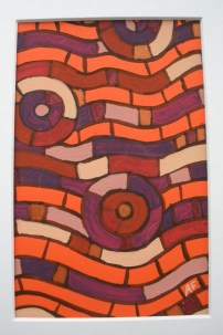 """""""Moving Mosaic: Brick"""" 4 x 6, acrylic on paper, $20 (includes black frame)"""