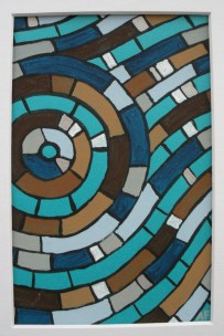 """""""Moving Mosaic: Brown"""" 4 x 6, acrylic on paper, SOLD"""