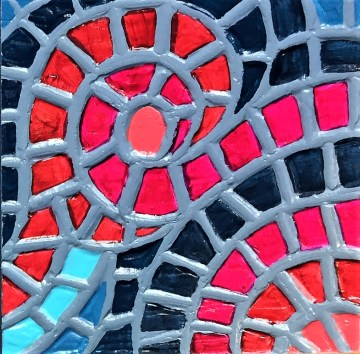 """Berries"", 4 x 4"", acrylic medium on wood block, 2016, SOLD"