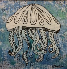 """""""Jellyfish"""", 5 x 5, watercolor and ink on canvas paper, 2013, $100 (Framed)"""