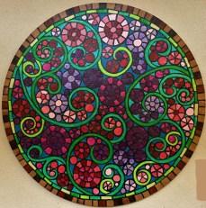 """Ventana Rosa"", 20"" circle, acrylic on canvas, 2015, $200"