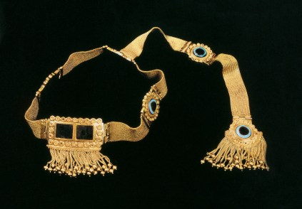 gold diadem with tassels