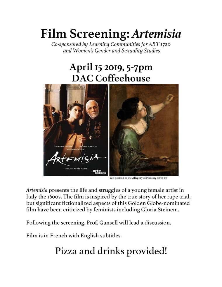 Artemisia film screening flyer