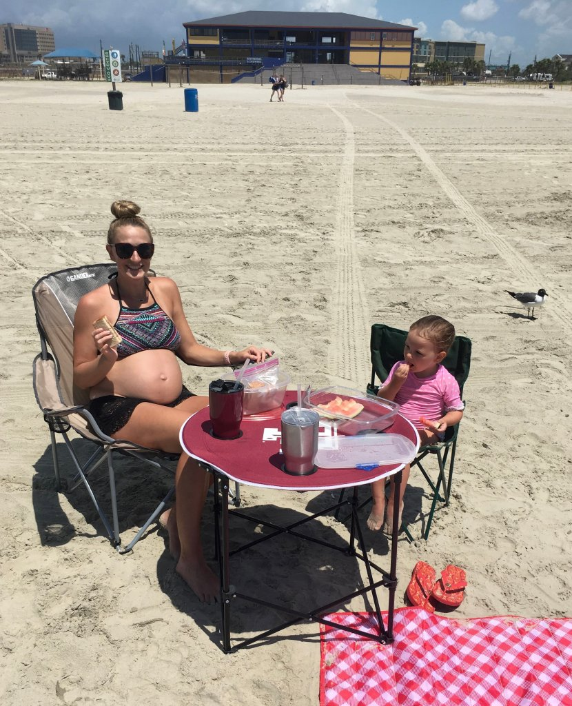 Snacks with toddler at the beach
