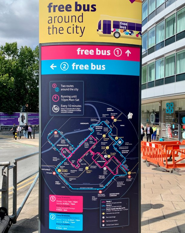 Manchester, England free city bus routes and schedule.