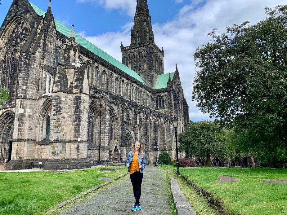 The Glasgow Cathedral is a must see when visiting Glasgow. After you walk around the church and lower crypt, be sure to walk up the the top of the Necropolis. Don't turn around until you get to the top and you'll see a breathtaking view!