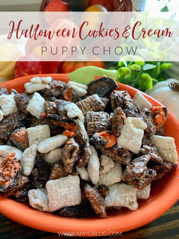 This cookies and cream puppy chow comes with a Halloween twist. Perfect for any Halloween gathering or to BOO your neighbors!