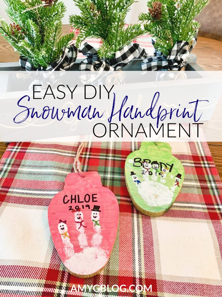 Simple DIY snowman handprint ornament that can be made so many different way! Take a look inside to see the steps and find supplies to purchase. You'll also find 13 other DIY ornament options to do with your children before Christmas!