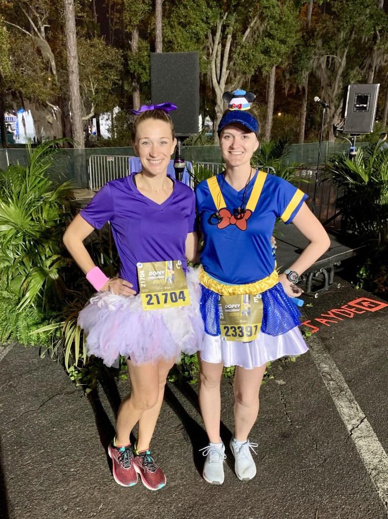 2020 runDisney Dopey Challenge Half Marathon. Race 3 of 4!  Running costumes, Daisy and Donald. Donald skirt made by Dottie for Running.