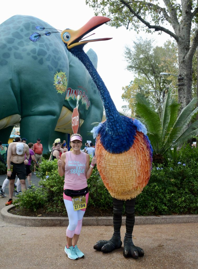 DId you know that Kevin roams around the Animal Kingdom park? He rarely stops for photos but you can snap a selfie with him! It was awesome to stop and take a photo with Kevin during the 2020 runDisney marathon!