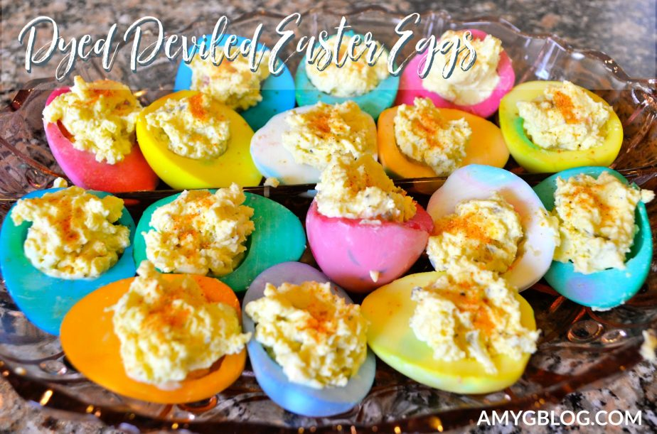 Try this fun spin on an Easter tradition: Dyed Deviled Easter Eggs! You don't have to eat hard boiled eggs all week with this fun recipe! It brings Easter egg decorating to a whole new level.  #easterrecipe #eastereggs #eastereggrecipe #easterideas