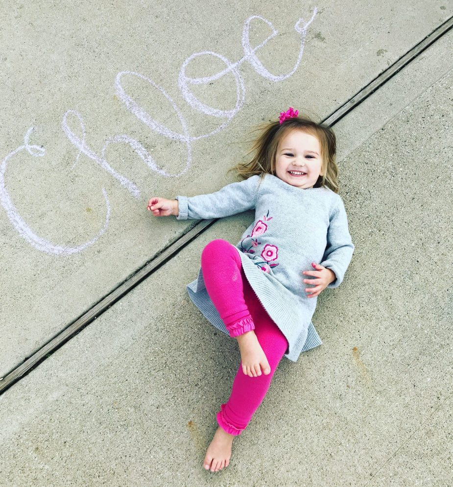 Screen free activities: color with chalk!