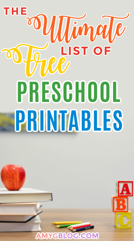 This list of free preschool printables is a great resource to help parents find ways to educate their children at home! Geared towards kids ages 3-6. #freeprintables #screenfreeactivities #homeschoolresources #homeschoolpreschool #preschoolprintables