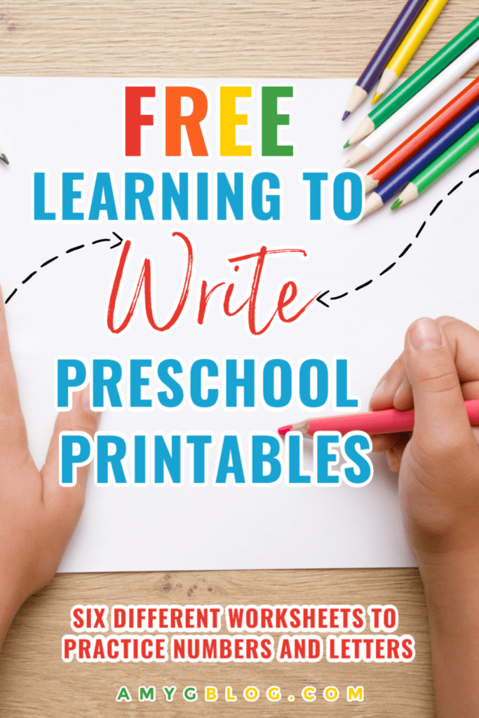 If you're looking for a fun and educational way to help your preschooler learn to write, this is it! This learning to write free preschool printable is a small 6 page e-book to help your child practice writing their letters and numbers as well as starting some site word recognition! #freeprintable #freebie #preschoollearning #preschoolpacket #learntowrite #sitewords