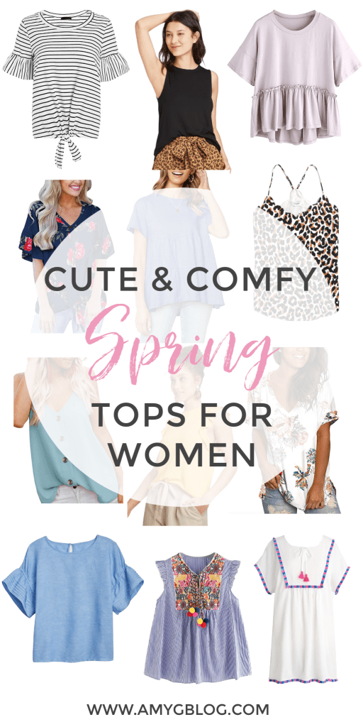 Shop these 12 spring tops for women! They're cute and comfy, so you can wear them while we're still at home or out on the town when we can get out again! These lightweight tops with beautiful solids and fun prints are sure to brighten your waredrobe. #springfashion #shopspring #springshopping #springtops #floralshirts #cincodemayooutfit #outfitsforspring