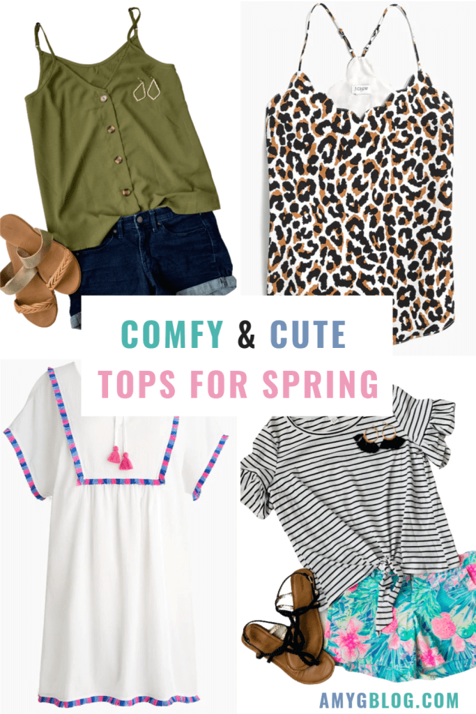 Check out these cute and comfy tops for spring! These are shirts that you can wear around the house or out and about once we're able to socialize again! #quarantinefashion #womensfashion #springtopsforwomen #springfashion #shopforspring