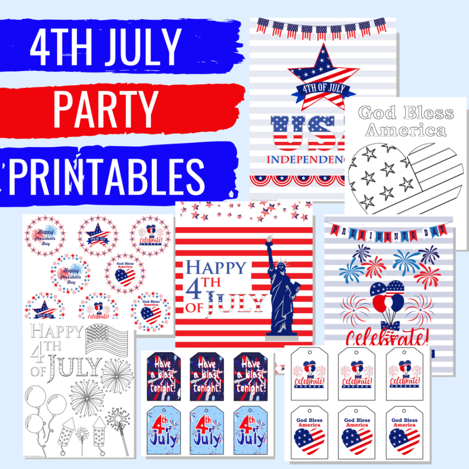 These 4th of July party printables are the perfect addition to our summertime roundup! Everything you need to decorate along with activities for the kids. Your patriotic celebration will be over the top with these free printables! #patrioticprintables #4thofjulypartydecor #4thofjulyprintables #freeprintables #americanthemedpartydecor