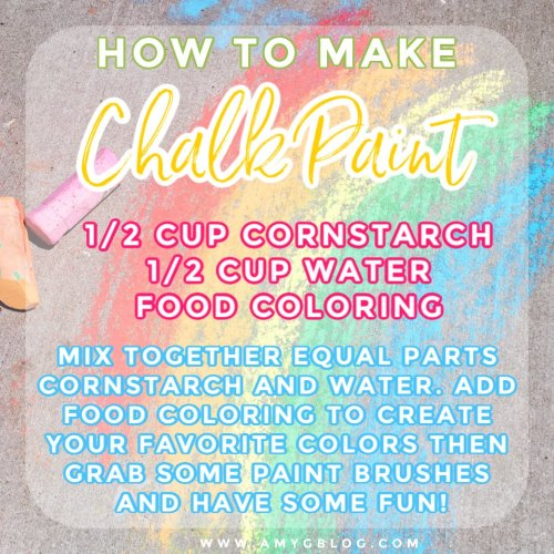 A quick and easy recipe for how to make chalk paint! A fun activity that will lead to hours of fun at home this summer. #chalkpaint #howtomakechalkpaint #summeractivitiesfortoddlers #toddlersummer #summeractivities