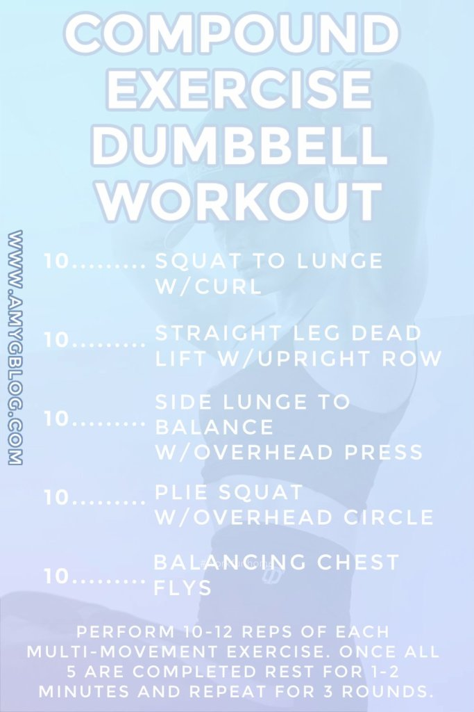 This workout takes only 5 different exercises with multiple movements in each to create a total body workout experience. #compoundexercises #totalbodyworkout #dumbbellworkout #athomeworkout #prentalworkout