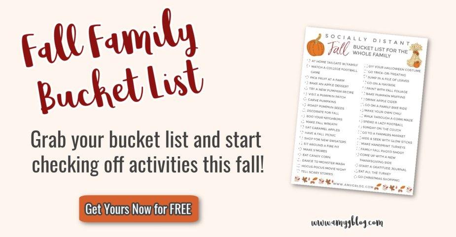 Looking to have fun this fall while staying safe? Grab your free socially distant family fall bucket list printable to check off this fall!