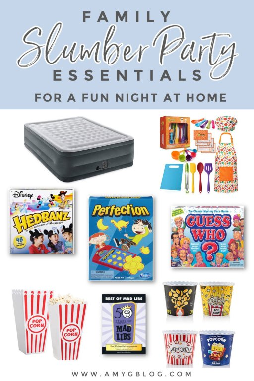 Everything you need to have a fun family slumber party at home! #sleepover #familyfuntime #athomefun